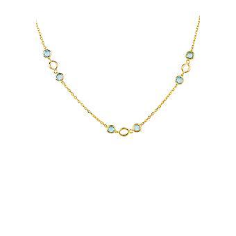 Länk ädelsten halsband guld blå Topaz bröllopsgåva brudtärna silver kedja 925