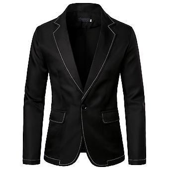 YANGFAN Mens Casual Solid Color Suit Jackets One Button Blazer