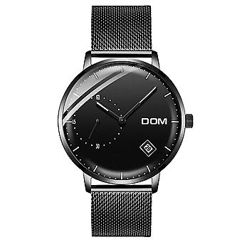 DOM M-302 Waterproof Calendar Men Wrist Watch Stainless Steel Strap Quartz