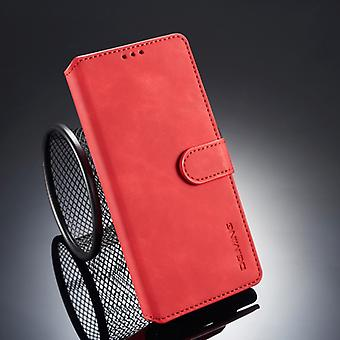 Dg. MING الرجعية النفط الجانب الأفقي الوجه الوجه لـ غالاكسي Note9، مع هولدر & فتحات البطاقة &; المحفظة (الأحمر)
