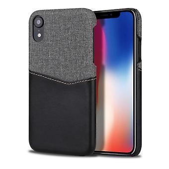 لفون XR PC + PU الربط حالة مع فتحات بطاقة (أسود)