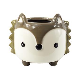 10cm Ceramic Grey Fox Planter