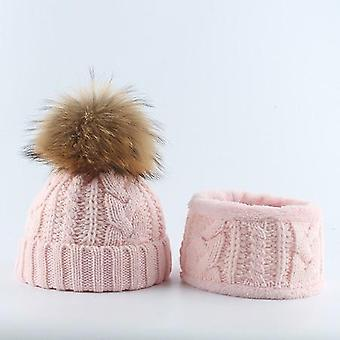 Winter Kids Hat Scarf Set Real Raccoon Fur Pompom Fleece Inside Pompon Beanie