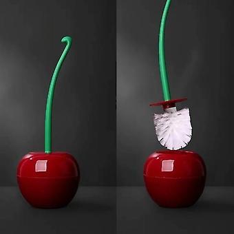 Forma de cereja fofa com alça longa - escova de vaso sanitário e suporte