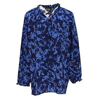 Bob Mackie Women's Plus Top Splash Print Woven Blouse Purple A344972