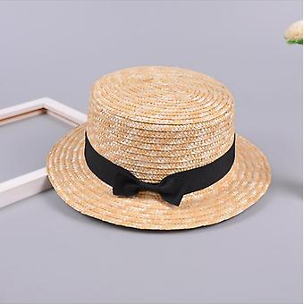 Cute Child Girls Straw & Bowknot Sun Hat Kids Large Brim Beach Summer Boater