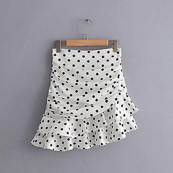 Dot Print Ruched Asymmetrical Mini Skirt Fashion Women