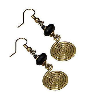 Spiral And Coil  Brass Drop Women  Earrings