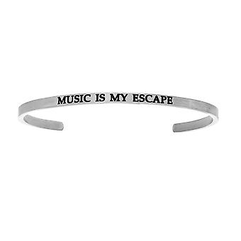 """Intuitions Stainless Steel MUSIC IS MY ESCAPE Diamond Accent Cuff  Bangle Bracelet, 7"""""""