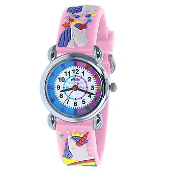 Relda Time Teacher 3D Unicorn Pink Silicone Strap Watch + Telling The Time Award