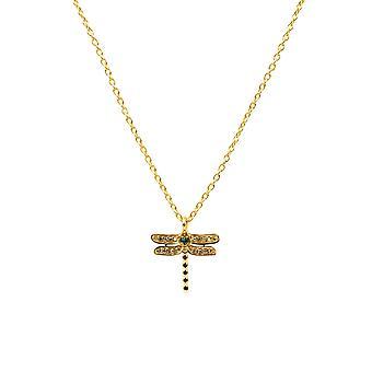 Diamond Emerald Dragonfly hänge halsband gul guld grön kort 45cm kedja