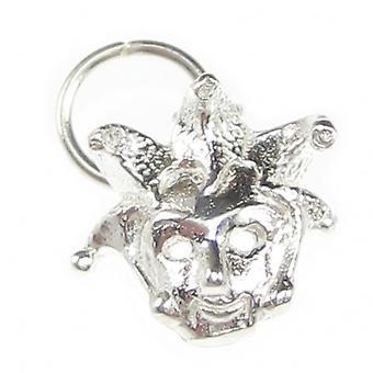 Tiny Błazen Fool Mask Sterling Silver Charm .925 X 1 Maski Charms - 7613