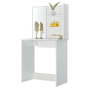 Toaletný stolík so zrkadlom a úložné police - biela - 75x40x141 cm