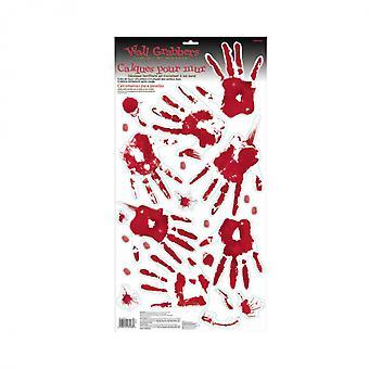 Muurstickers Bloederige Handen Rood / Wit 23-Delig