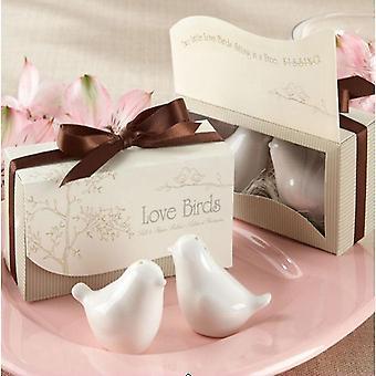 2pcs/pack Love Birds Ceramic Shaker Spice Jar Kitchen Spice Tools Wedding Party