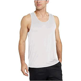 Essentials Menn's Tech Stretch Performance Tank Top Skjorte, Hvit, Medium