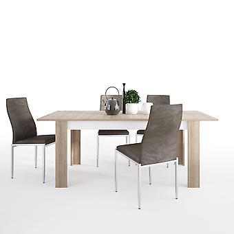 Lion Set Large Extending Table 160/200Cm + 6 Lillie Chair Dark Brown.