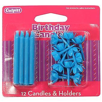 Siniset kynttilät ja pitimet