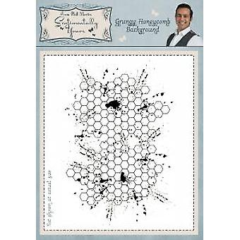 Sentimentally Yours Grungy Honeycomb Background Stamp