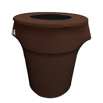 La Linen Stretch Spandex Trash Can Cover 55-Gallon Round,Brown