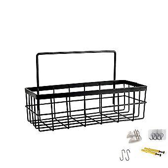 Storage hanging basket, multifunctional storage basket with hooks, kitchen living room furniture storage, hanging finishing rack