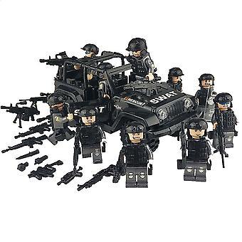 הצבא כוחות מיוחדים חיילים לבנים דמויות, מכונית, רובים, נשק תואם