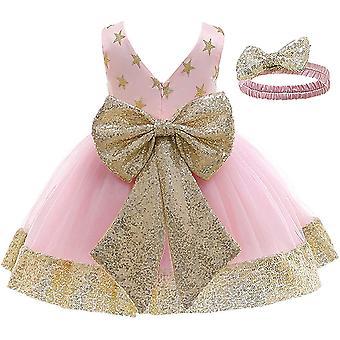 Baby Girl formálne krst princezná šaty A-baby ružová