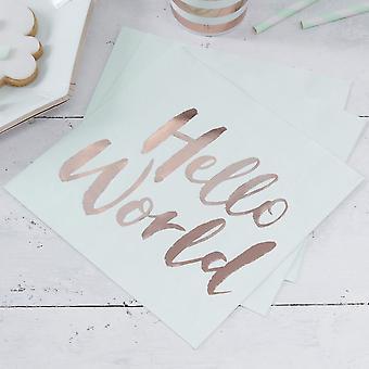 Serviettes en papier - Bonjour tout le monde x 20 a déjoué bébé douche menthe et or Rose