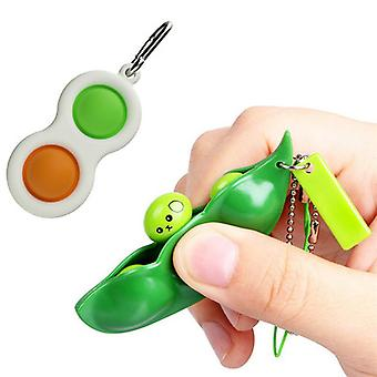 Simple Dimple Fidget Toys With Squeeze Bean Fidget Toy, Stress Relief Hand Toys Keychain Sensory Toys