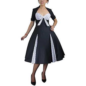 Chique ster retro polka-dot swing jurk in zwart / polka-dot