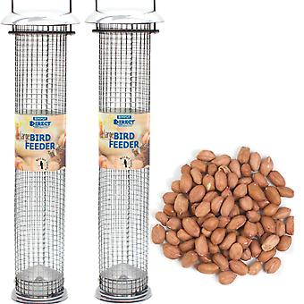2 x Simply Direct Large Deluxe Wild Bird Nut Feeders with 1.8KG bag of Peanut Feed