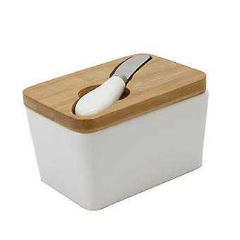 Prato de manteiga de porcelana com | de faca M&W