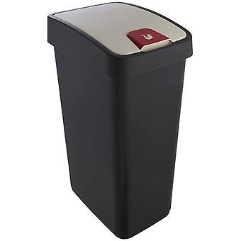 Wokex Premium Abfallbehlter mit Flip-Deckel, Soft Touch, 45 l, Magne, Graphit Grau