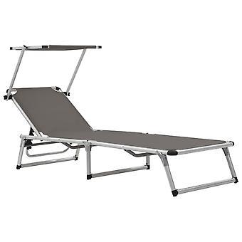 vidaXL sammenleggbart bord med solbeskyttelse aluminium og tekstilgrå