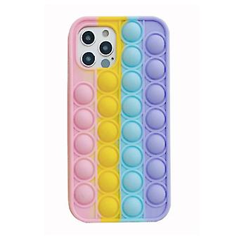 N1986N iPhone SE (2020) Pop It Case - Silicone Bubble Toy Case Anti Stress Cover Rainbow