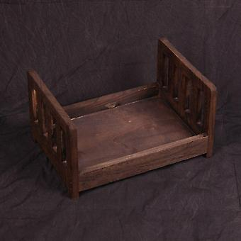 Newborn Photography Props Posing Wood Bed.