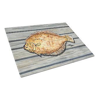 Caroline's Treasures Flounder en la tabla de corte de vidrio wharf, grande, multicolor