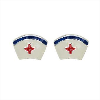 Earring Posts, Nurse Hat, 8mm, 1 Pair, Silver Plated / Enamel
