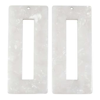 Zola Elements Acetate Pendant, Rectangle Frame 22x49mm, 2 Pieces, Pearl White