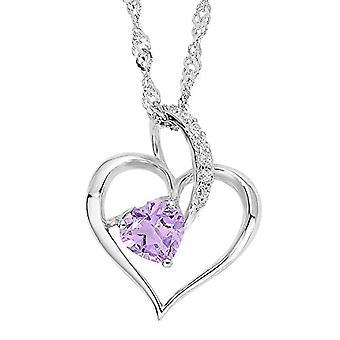 Amor Singapore naisten kaulakoru sydämen muotoinen riipus hopea 925 rhodium valkoinen lila zircons 45 cm 497022
