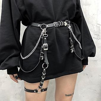 Woman Sexy Punk Gothic Faux Leather Belt Metal Chain Ring Waist Strap