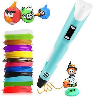 Usa plug sininen 3d tulostus doodle kynä lcd-näyttö & filamentit az15957