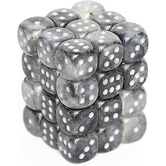 Chessex 12mm D6 Dice Block: Borealis Light Smoke/silver
