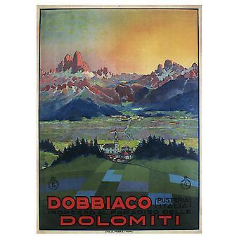 Poster Vintage Turistico Dobbiaco Dolomiti - Stampa su Tela, Decorazione Parete