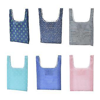 6 Stück Klappbar e.A. tragbare Einkaufstaschen leichte Umweltschutztasche Picknicktaschen