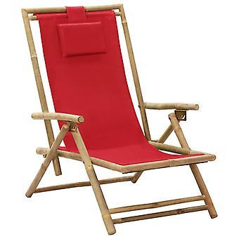 vidaXL قابل للتعديل كرسي الاسترخاء الأحمر الخيزران والنسيج
