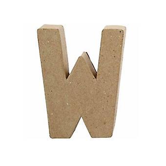 ÚLTIMOS - 10cm Papel Pequeno Mache Letra W | Formas de Papel Mache