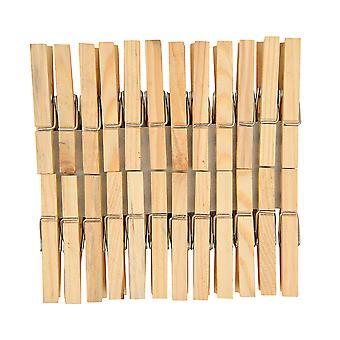 24 naturliga 7cm Träkläder pinnar | Trä former för hantverk