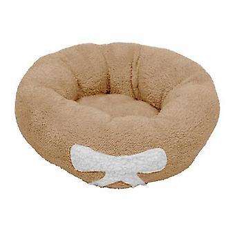 Haustier Hund Katze Beruhigendes Bett Weicher Plüsch Rund Braun für Katzen & Kleine Hunde