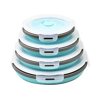 Round Bento Box Lunch Box Silicone Folding Food Container Blue 350/500/800/1200ML Four-piece
